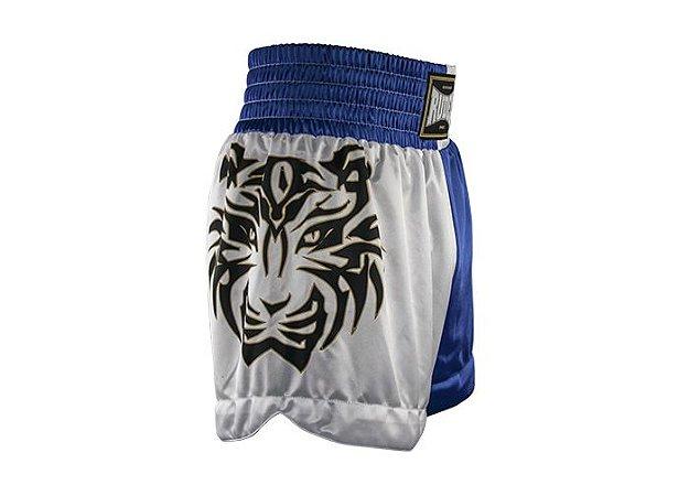 Shorts de Muay Thai MT 10 - Tigre Azul e Branco Rudel Sports