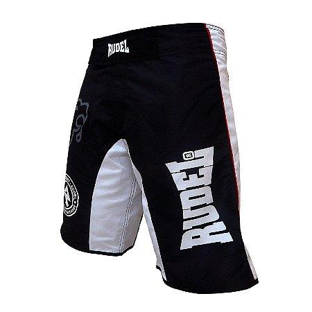 Bermuda Masculino MMA Adler 3 Branco e Preto Rudel Sports Tamanho P