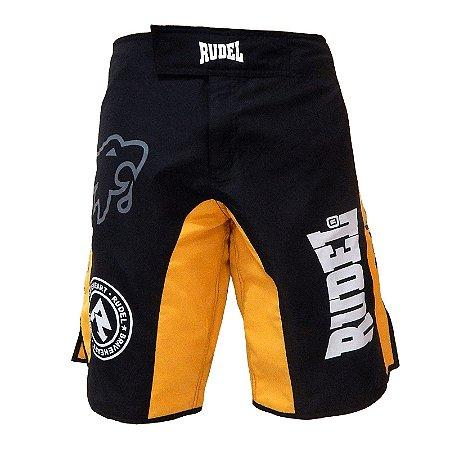 Bermuda Masculino MMA Adler 3 Amarelo e Preto Rudel Sports Tamanho P