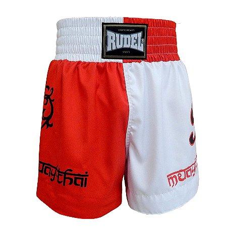 Shorts de Muay Thai MT 04 Coração Valente Branco e Vermelho Rudel Sports Tamanho P