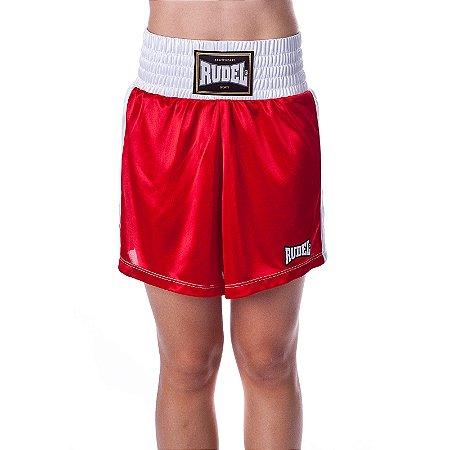 Shorts de Boxe Feminina Classic Vermelho Rudel Sports Tamanho G