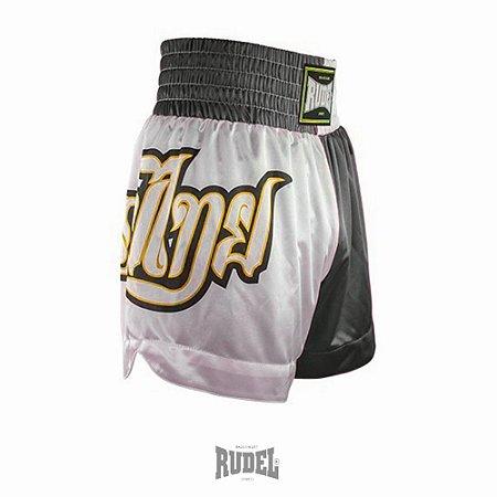 Shorts de Muay Thai MT 09 Lumpi Preto e Branco Rudel Sports Tamanho P