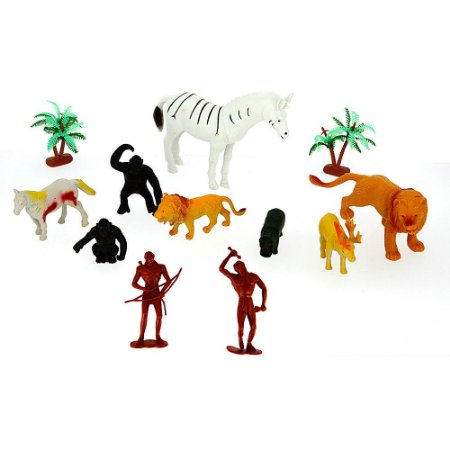 Kit Mini Animais Realista Selvagem Wild Animal de Plástico com 12 Peças de Animais da Selva