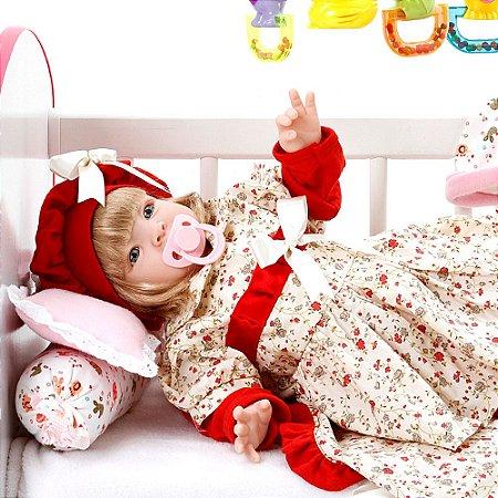 Boneca Bebe Reborn Maitê Vermelho Cegonha Reborn Dolls Mais 22 Acessórios 53cm
