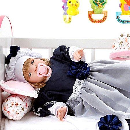 Boneca Bebe Reborn Louize Azul Marinho Cegonha Reborn Dolls Mais 22 Acessórios 53cm