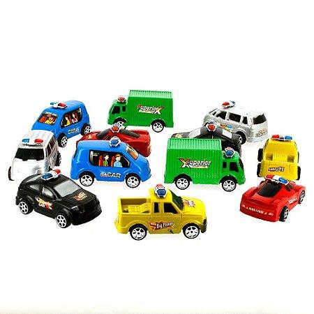 Kit Brinquedo 12 Carrinhos Fricção de Polícia Special Elite