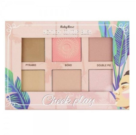 Paleta Iluminador E Contorno Cheek Play Ruby Rose HB-7502