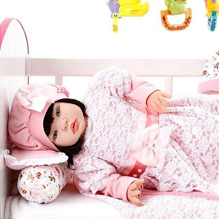 Boneca Bebe Reborn Ana Laura Salmão Cegonha Reborn Dolls Mais 22 Acessórios 53cm