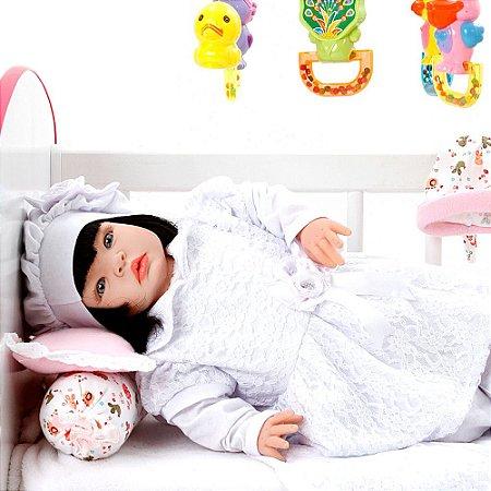 Boneca Bebe Reborn Nara Branco Cegonha Reborn Dolls Mais 22 Acessórios 53cm