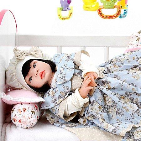 Boneca Bebe Reborn Chloe Floral Cegonha Reborn Dolls Mais 22 Acessórios 53cm