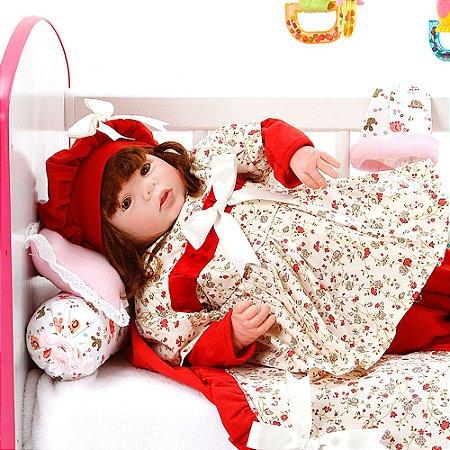 Boneca Bebe Reborn Eloise Maitê Vermelho Cegonha Reborn Dolls Mais 24 Acessórios 48cm