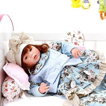 Boneca Bebe Reborn Eloise Lavinia Azul Bebe Cegonha Reborn Dolls Mais 24 Acessórios 48cm