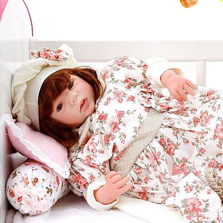 Boneca Bebe Reborn Eloise Encanto Floral Rosa Cegonha Reborn Dolls Mais 24 Acessórios 48cm