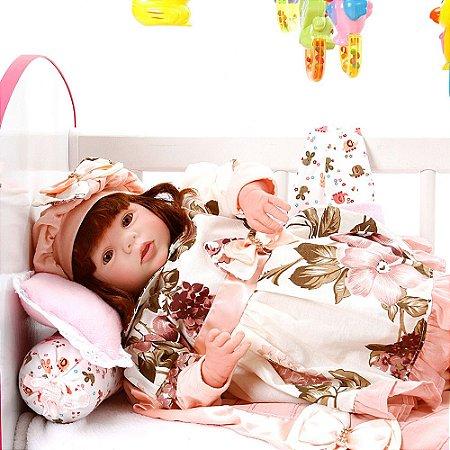 Boneca Bebe Reborn Eloise Naomi Rosa Floral Cegonha Reborn Dolls Mais 24 Acessórios 48cm