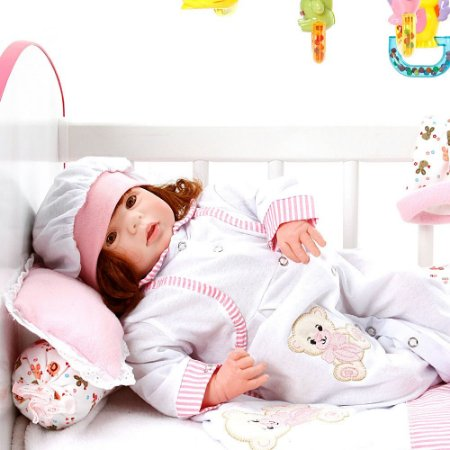 Boneca Bebe Reborn Eloise Ursa Charme Branco Cegonha Reborn Dolls Mais 24 Acessórios 48cm