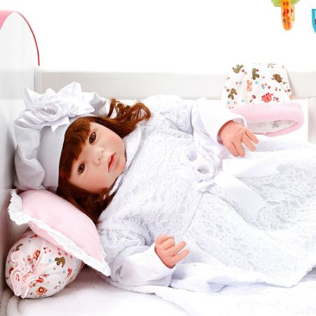 Boneca Bebe Reborn Eloise Nara Branco Cegonha Reborn Dolls Mais 24 Acessórios 48cm