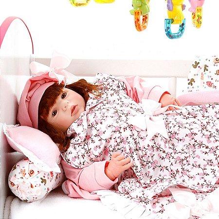 Boneca Bebe Reborn Eloise Floral Millie Cegonha Reborn Dolls Mais 24 Acessórios 48cm