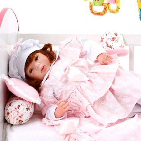 Boneca Bebe Reborn Eloise Monalisa Floral Cegonha Reborn Dolls Mais 24 Acessórios 48cm