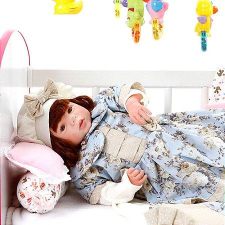 Boneca Bebe Reborn Eloise Chloe Floral Cegonha Reborn Dolls Mais 24 Acessórios 48cm