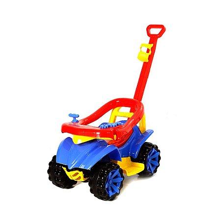 Quadriciclo 2 em 1 Com Empurrador Velotrol Infantil - Azul e Vermelho - Toy Kids