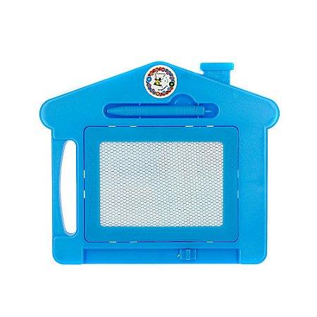 Brinquedo Lousa Mágica Infantil Com Tela Multi Colorida de Casinha Azul