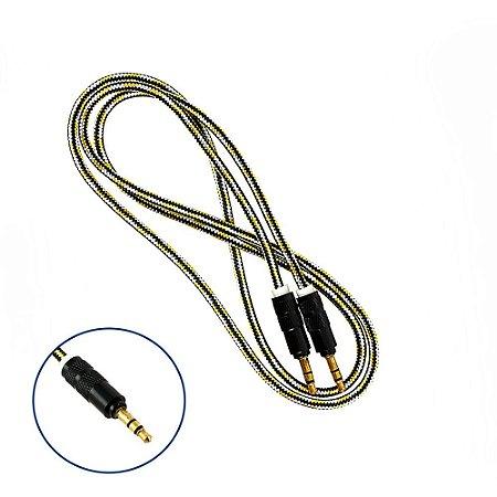 Cabo Auxiliar Super Reforçado Conector P2 + P2 Estério 1 Metro - Amarelo  - Inova