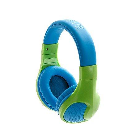 Fone De Ouvido Estéreo Sem Fio Com Microfone FON-6703 - Azul E Verde - Inova