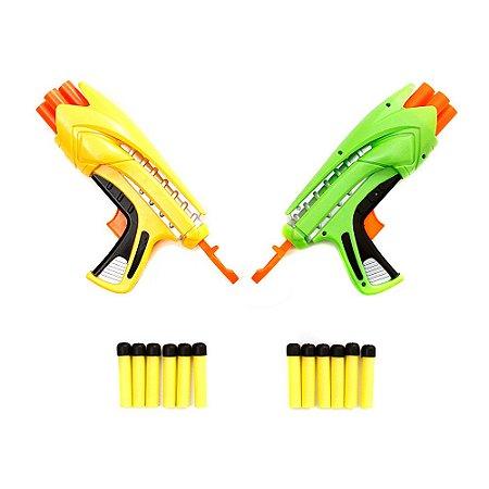 Kit Brinquedo Infantil Com 2 Armas Estilo Nerf Air Blaster Com 12 Dardos
