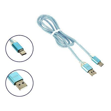 Cabo de Dados USB-C Super Reforçado LED Azul CBO-7287 - Inova