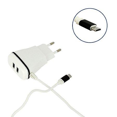Carregador Ágil 4.8A Com 2 Saídas USB Branco CAR-8123 - Inova