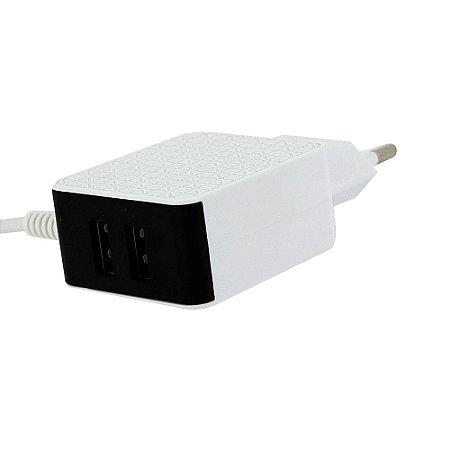 Carregador Mega Rápido 3.1A Com 2 Portas USB Branco E Preto CAR-8255 - Inova