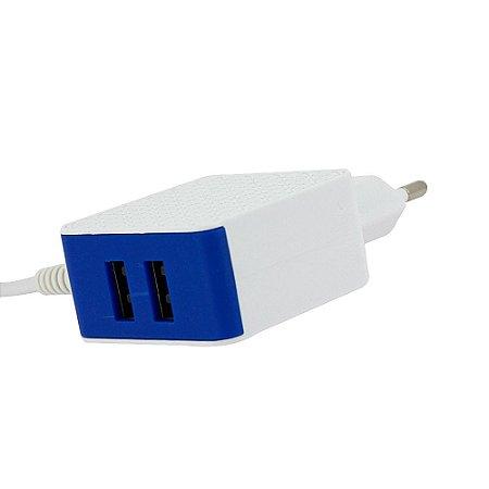 Carregador Mega Rápido 3.1A Com 2 Portas USB Branco E Azul CAR-8255 - Inova