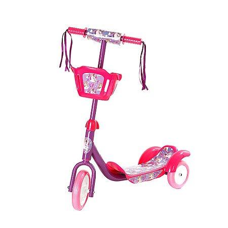 Patinete Infantil 3 Rodas Com Cesto - Rosa - AMO649