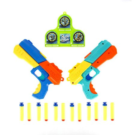 Kit 2 Arma Pistola Tipo Nerf Soft Bullet Guns Com 12 Dardos + Alvo Brinquedo Infantil
