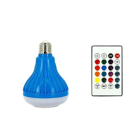 Lâmpada Decorativa Bluetooth Toca Música Com Luz LED RGB Colorido - Azul - RAD-409Z - Inova