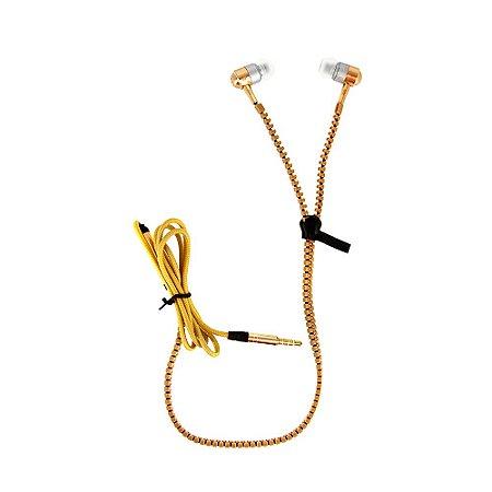 Fone De Ouvido Intra-auricular Tipo Zíper Com Microfone FON-10050 - Dourado - Inova