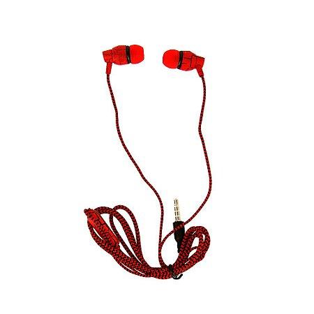 Fone De Ouvido Estéreo Intra-Auricular Listrado Vermelho e Preto FON-2114D - Inova