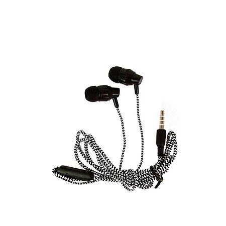 Fone De Ouvido Estéreo Intra-Auricular Listrado Preto FON-2114D - Inova