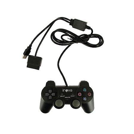Controle Doubleshock 5 em 1 com interface USB Padrão  PS2 CON-8146 - Inova