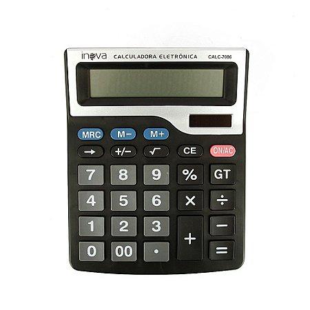 Calculadora Eletrônica Grande 12 Dígitos Preta E Cinza CALC-7086 - Inova