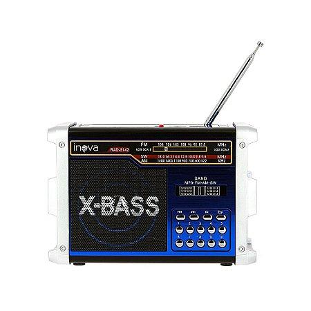 Caixa De Som Retrô Portátil Com Entrada USB e Lanterna - Azul - RAD-8142 - Inova