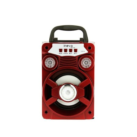 Caixa De Som Com Alça De Transporte  Bluetooth Com LED Brilhante - Vermelho - RAD-1056 - Inova
