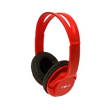 Fone De Ouvido Sem Fio 3.0 Leitor De Cartão De Memória Micro SD - Vermelho - FON-6701 - Inova