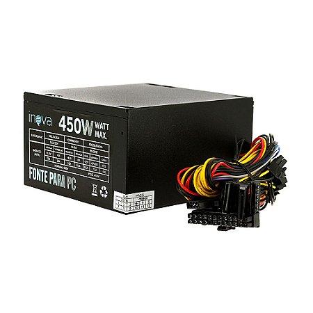 Fonte De Energia ATX Para Computador Silenciosa 450W  Bivolt De PC - PS-7296 - Inova