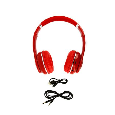 Fone De Ouvido Estéreo Sem Fio Com Microfone Embutido Vermelho  FON_7266 - Inova