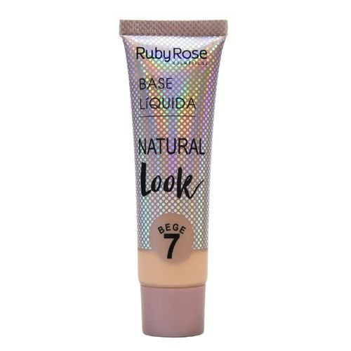 Base Líquida Ruby Rose Cosméticos 29ml Natural Look Cor Bege 07 - HB-8051
