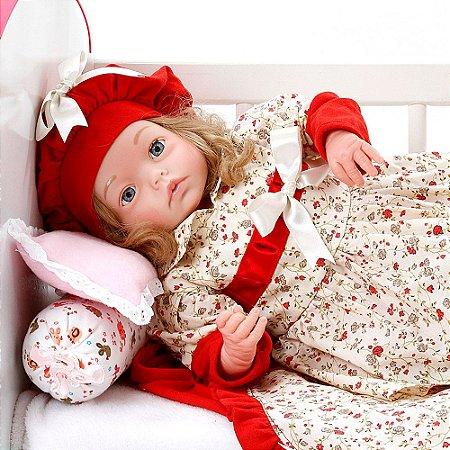 Boneca Bebe Reborn Yasmin Maitê Vermelho Cegonha Reborn Dolls Mais 24 Acessórios 48cm