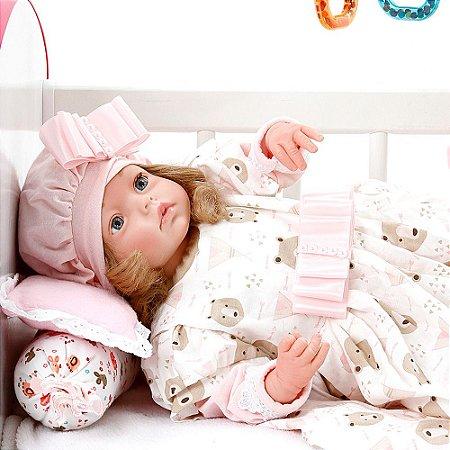 Boneca Bebe Reborn Yasmin Moana Rosa Ursinhos Cegonha Reborn Dolls Mais 24 Acessórios 48cm