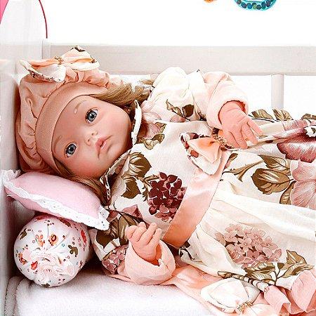 Boneca Bebe Reborn Yasmin Naomi Rosa Floral Cegonha Reborn Dolls Mais 24 Acessórios 48cm