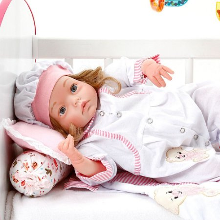 Boneca Bebe Reborn Yasmin Ursa Charme Branco Cegonha Reborn Dolls Mais 24 Acessórios 48cm